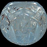 Big Cut Glass Rose Bowl Vintage Heavy Crystal