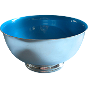 Blue Enamel Reed Barton Vintage Silver Plated Bowl 9 Inch 105