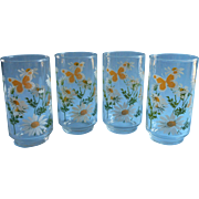 1960s 70s Glasses Tumblers Vintage Libbey Butterflies Daisies