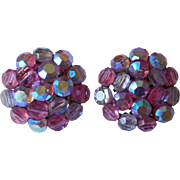 Pink AB Crystal Beads Earrings Vintage 1960s Vogue