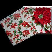 Christmas Hankie Printed Cotton In Box Vintage Unused 1950s Print