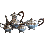 Vintage Tea Set Melon Rib Roden Silver Plated On Copper Fruit Knops