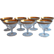 Tiffin  Gold Encrusted Rambler Rose Vintage Coupe Glasses Champagne Cocktail Stemware