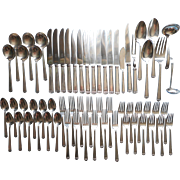 1923 Set Flatware Silver Plated Anniversary Vintage Service For 12 Simple Handsome