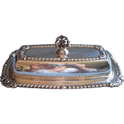 Butter Dish Glass Insert Silver Plated Vintage Ornate Knop and Rim