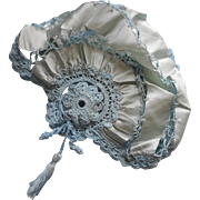 1920s Bed Cap Vintage Blue Crocheted Lace Silk Ribbon Tassel