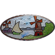 Antique Enamel Pin Windmills Boat Dutch Countryside Scene Scenic