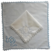 2 Napkins Cutwork Hand Embroidery Needle Filet Lace Vintage