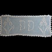 Monogram D D Antique Filet Crocheted Lace Runner ca 1915