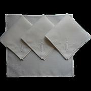 Tea Napkins Vintage 1920s Italian Work Embroidery Linen Simple
