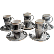 1970s Neiman Marcus Demitasse Cups saucers Set Black White China Japan