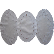 Linen Bread Tray Doilies Oval Vintage Cutwork Hand Embroidery