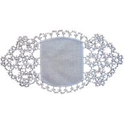 Tatted Lace Linen Bread Tray Doily Very Vintage Circa 1920