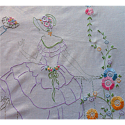 1920s Bedspread Hand Embroidered Vintage Courting Couple Flower Garden