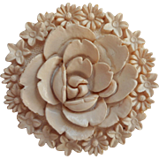 Vintage Celluloid Plastic Pin White Painted Rose Flowers