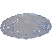 Bread Tray Doily Vintage Madeira Cutwork Linen Hand Embroidery Blue White