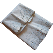 Vintage Pillowcases Unused Hand Embroidery Blue On White Roses
