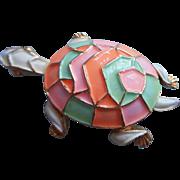 Vintage 1970s Turtle Pin Neon Pastel White Enamel Summer Bright Figural