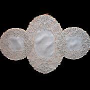 Ornate Lace Linen Vanity or Console Doily Set Unused Vintage Ecru Tape Lace