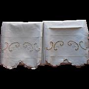 1920s Italian Pillowcases Vintage Cutwork Cotton Trousseau Unused