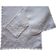 1910s Doilies Roses Antique White Work Hand Embroidery Cotton Linen