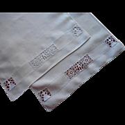 Italian Lace Linen Towels Vintage 1920s Figural Reticella Italian Work