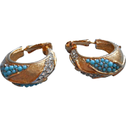 Vintage Sarah Coventry Earrings Gold Faux Turquoise Rhinestone Hoop Clip