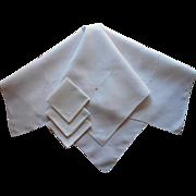 1920s Tea Tablecloth 3 Napkins Vintage Linen Simple Italian Work Embroidery