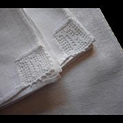 Monogram R Antique Napkins Damask Filet Crocheted Lace Corners