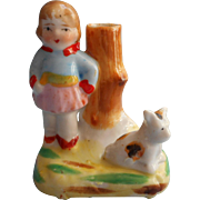 1920s Japan Hand Painted Vintage China Girl And Dog Bud Vase Figurine