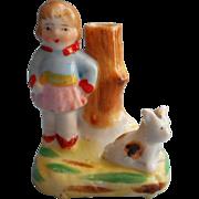 1920s Japan Hand Painted Vintage China Girl And Dog Bud Vase Figurine