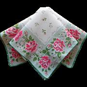 Pink Roses Hankie Mint Green Vintage Print Printed Cotton