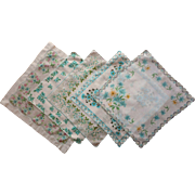 Hankies Aqua Floral Prints All 5 Vintage Cotton Print Printed