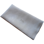 Monogram F Antique Linen Towel Damask