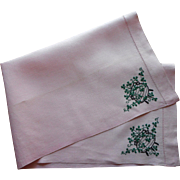 Circa 1920 Pink Linen Towel Hand Embroidered Shamrocks In Iron Pots