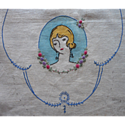 1920s To Embroider Stamped Goods Hand Embroidered Bedroom Linen Doilies