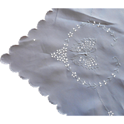 c1920 Linen Cutwork Hand Embroidery Tablecloth Napkins Butterflies TLC