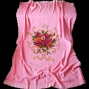 1960s Pink Blanket Acrylic Vintage Roses Medallion Print Stevens Utica