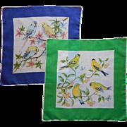 Bird Print Hankies Pair Vintage Cotton Printed