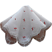 Hearts Hankie Lace Vintage Embroidered Valentine's Day