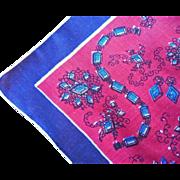 Jewelry Print Hankie Vintage Cotton Printed Fun Midcentury
