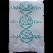 Aqua Hand Embroidery Vintage Linen Guest Towel