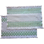 Swedish Embroidery Pair Tray Cloths Vintage Green White Fringed
