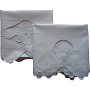 1920s Italian Pillowcases Vintage Cutwork Cotton Cherub Flower