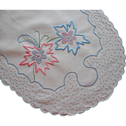 1920s Italian Runner Hand Embroidered Vintage Pink Blue White Cotton