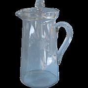 Antique Glass Pitcher w Lid Engraved Flowers Lemonade Iced Tea Classic