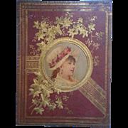 Victorian Scrapbook Cover Pretty Lady Lithograph Gold Antique