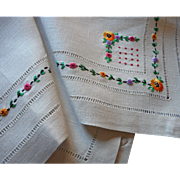 1920s Linen Card Table Cover Tea Tablecloth  Hand Embroidery Heavy