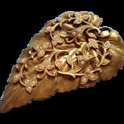 Large Antique Pendant Leaf Form Glass Pearls