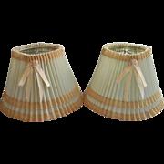 Pair Vintage 1940s Boudoir Lamp Shades Pale Blue Green Plastic Lace